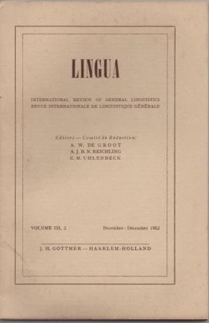 Lingua. Vol. III. No. 1, 2, 3, 4.