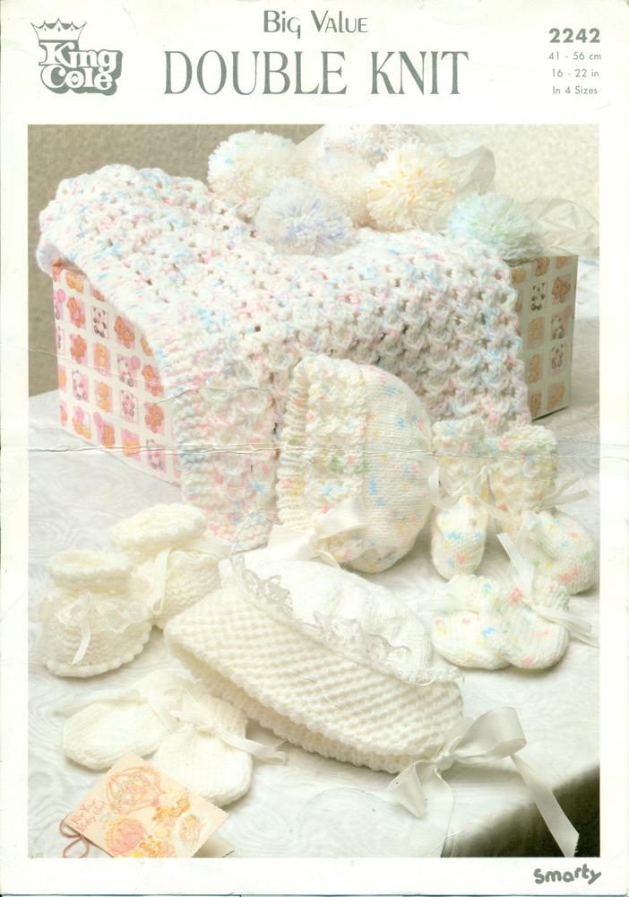 KING COLE DOUBLE KNIT : BLANKET, BONNETS, MITTENS & BOOTEES : Baby Layett...