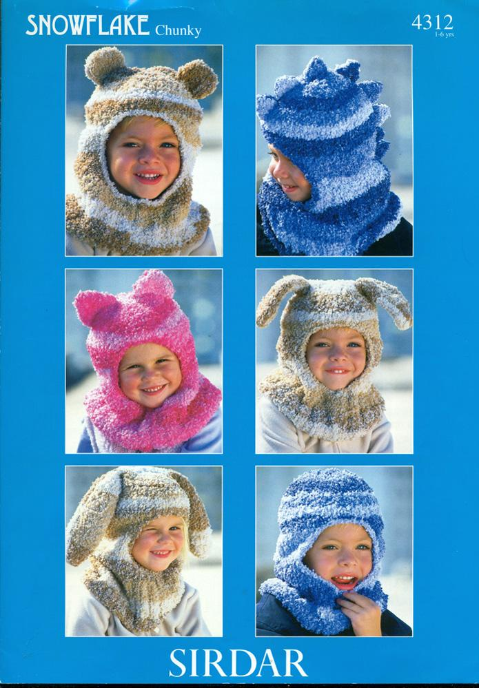 SIRDAR SNOWFLAKE CHUNKY : ANIMAL HEAD BALACLAVAS for Children 1 - 6 ...