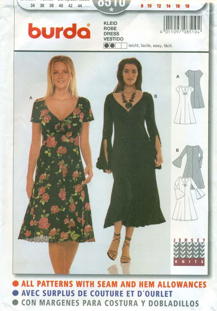 Burda Sewing Pattern 8510 Misses V Neck Dress Size 8 To 18 By