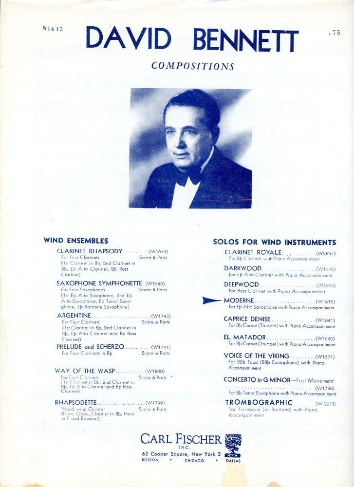 moderne for e flat alto saxophone with piano accompaniment