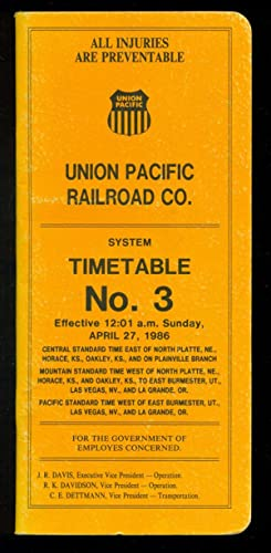 UNION PACIFIC RAILROAD : SYSTEM TIMETABLE No. 3 : Effective 12:01 am April 27, 1986
