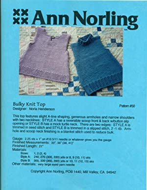 ANN NORLING: BULKY KNIT TOP: Pattern #50