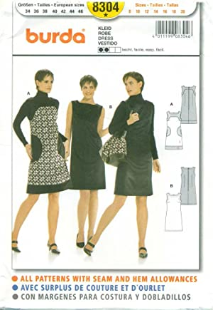 BURDA SEWING PATTERN: #8304: Misses' Sleeveless Dress: Size: 8 to 20