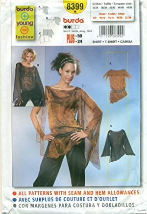 BURDA SEWING PATTERN: #8399: BURDA YOUNG FASHION: Misses' Semi-Fitted Shirt, T-Shirt: Size: 8 to 24