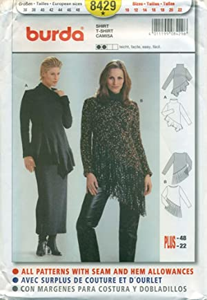 BURDA SEWING PATTERN: #8429: Misses' Ruffle/Fringed Hem Top: Size: 10 to 22