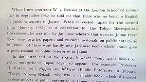 AN INTRODUCTION TO PUBLIC ENTERPRISE IN JAPAN: Yoshitake, Kiyohiko; (W.A. Robson, Foreward)