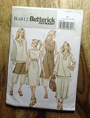 BUTTERICK SEWING PATTERN: #B4812: FAST & EASY: Size: EE (14-16-18-20) :Misses' Dress, Top & Pants
