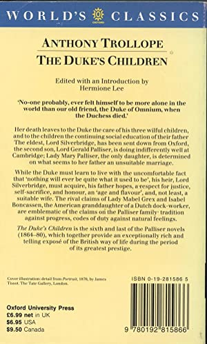 THE DUKE'S CHILDREN (Palliser Novels): Trollope, Anthony; ( Lee, Hermione, editor)
