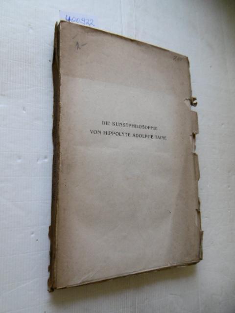 Die Kunstphilosophie von Hippolyte Adolphe Taine: Zeitler, Julius
