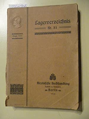 Lagerverzeichnis Nr. 81 - Abteilung I: Unterhaltungsschriften - Abteilung II: Biographien, ...