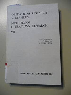 Operations-Research-Verfahren. Bd. VII. (Methods of operations research) (1. Oberwolfach-Tagung &...
