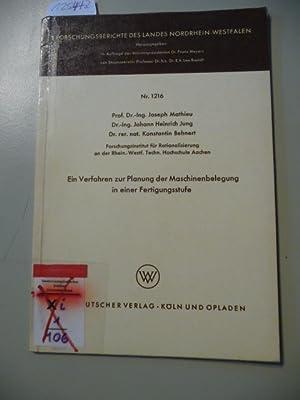 Ein Verfahren zur Planung der Maschinenbelegung in einer Fertigungsstufe: Mathieu, Joseph ; Jung, ...