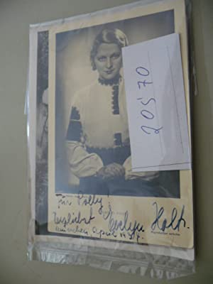 Bildpostkarte mit Widmung in tinte: Für Polly! Herzlichst Evelyn Holt München, April 1934...