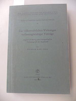 Die völkerrechtlichen Wirkungen verfassungswidriger Verträge - Zugleich ein Beitrag zum ...