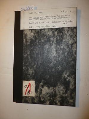 Das Recht der Prozeßstrafen im Entwurf 1931 einer Zivilprozeßordnung: Weiler, Otto M.
