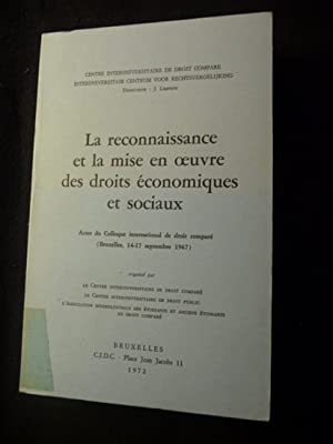 La reconnaissance et la mise en oeuvre des droits economiques et sociaux - Actes du colloque ...