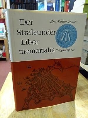 Der Stralsunder Liber memorialis. Teil 4: Fol.: Stralsund Schroeder, Horst-Diether