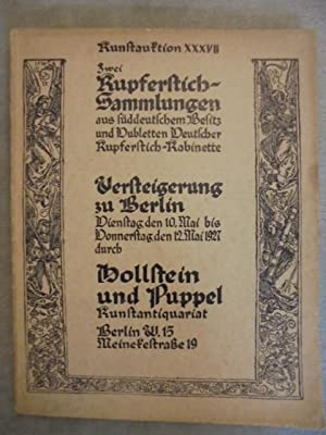 Kunstauktion XXXVII. Zwei Kupferstich-Sammlungen aus süddeutschem Besitz: Hollstein & Puppel