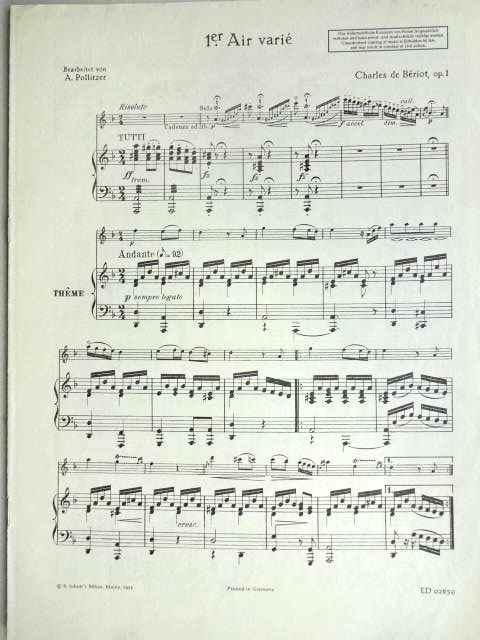 Première Air varié, op. 1. Ausgabe Violine und Klavier, bearbeitet von A. Politzer. Hier: Stimmheft Klavier mit überlegter Violine (ohne Violine-Stimmheft).