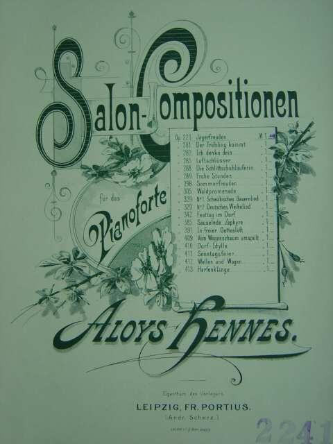 Jägerfreuden. Op. 223. Für Klavier zu 2: Hennes, Aloys.