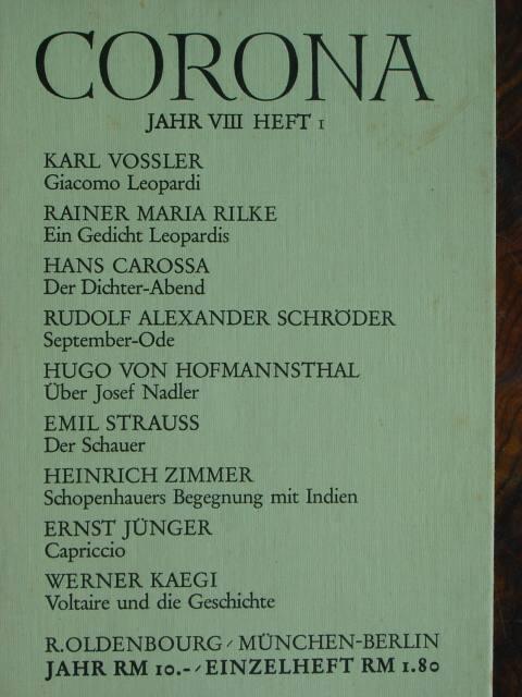 Corona. Zweimonatszeitschrift. Hier: 8. Jahr / 1938: Bodmer, Martin und
