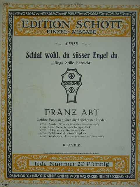 Franz Abt Band 1 Mezzo-sopran Oder Bariton Ausgewählte Lieder Abt Album.
