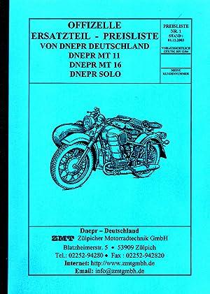 Offizielle Ersatzteil-Preisliste von Dnepr Deutschland: MT 11 / MT 16 / SOLO: ZMT Zülpicher ...