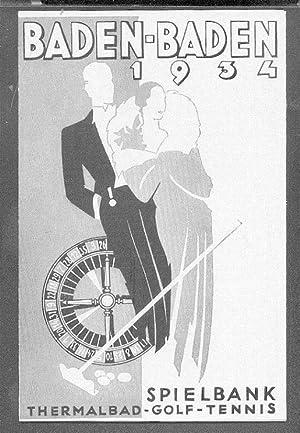 BADEN-BADEN 1934: Spielbank Thermalbad Golf Tennis (Faltprospekt): Bäder- und Kurverwaltung