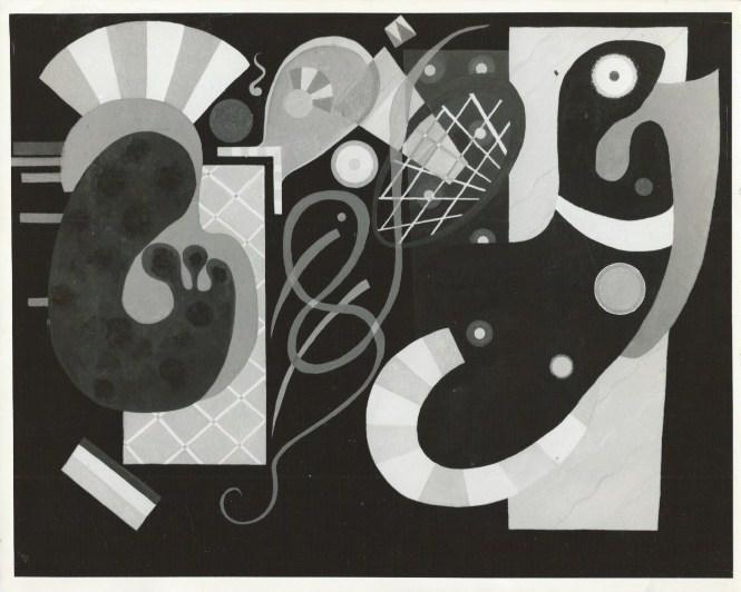 7 ältere s/w Photographien von späteren Werken: Kandinsky, Wassily: