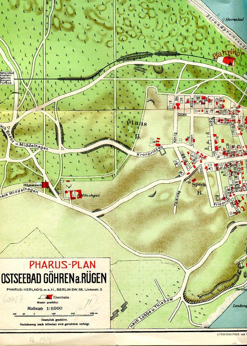Pharus Plan Ostseebad Gohren A Rugen Mit Inlaykarte