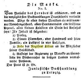 Die Maske. No. 1 [m. n. e.].: Mahlmann, Siegfried August.