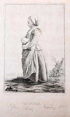 """o. T. [Junge Bäuerin]. Einfacher Filetenrahmen. In der Platte signiert """"JB sculp. Berlin 1751.:..."""