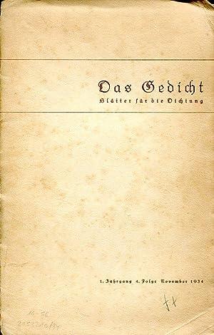 Das Gedicht. Blätter für die Dichtung. Herausgegeben von Heinrich Ellermann. 34 Hefte.