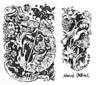 Neujahrsgruß. Sankt Georg. Signierte Original-Siebdrucke. Klappkarte.: Olbrich, Heinz: