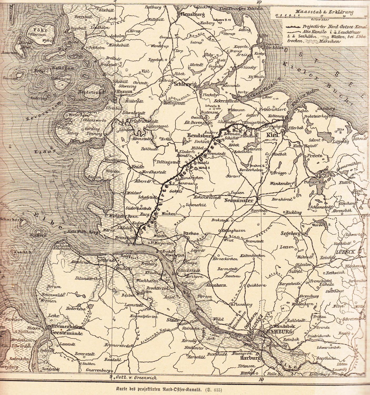 Karte Ostsee.Karte Des Projektierten Nord Ostsee Kanals