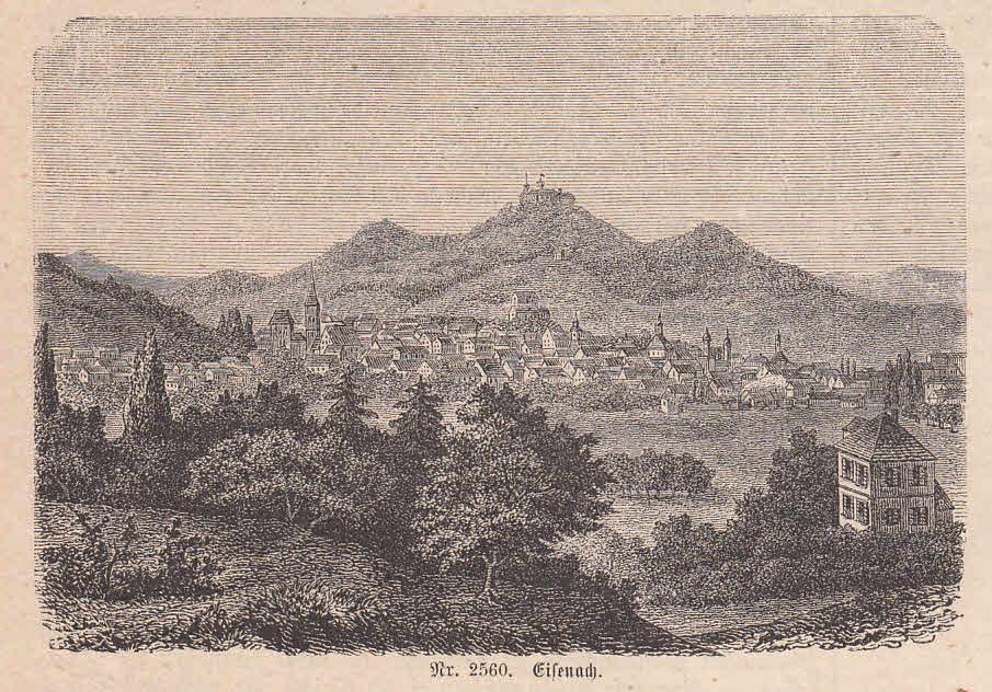 Gesamtansicht mit Blick zur Wartburg.: Eisenach,