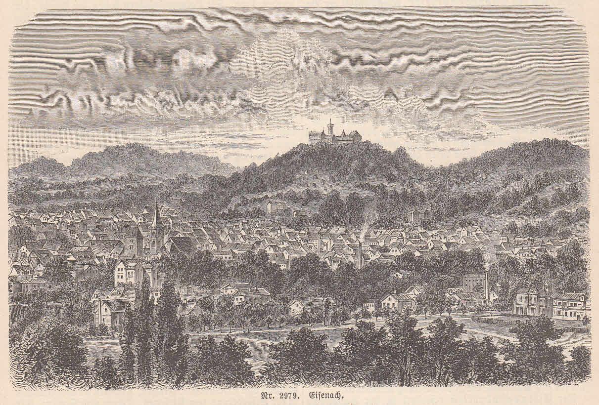 Gesamtansicht, im Hintergrund die Wartburg.: Eisenach,