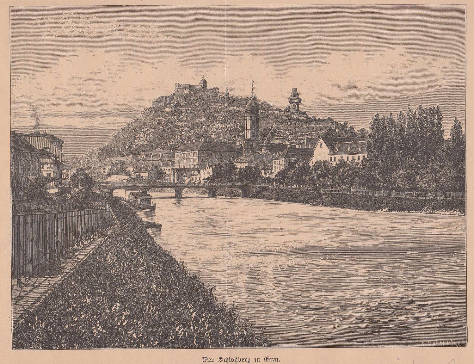 Der Schloßberg vom gegenüberliegenden Ufer der Mur: Graz,