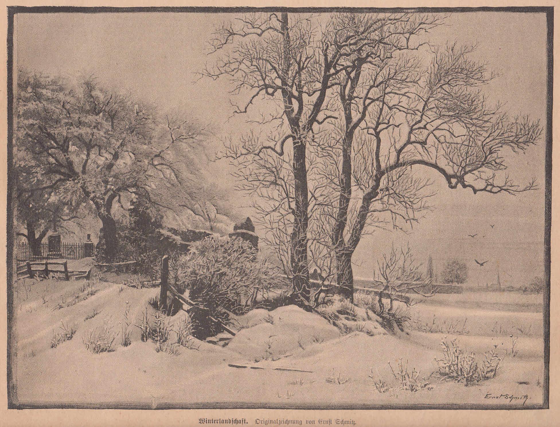 Schmitz, Ernst: Winterlandschaft.: Künstlergraphik,