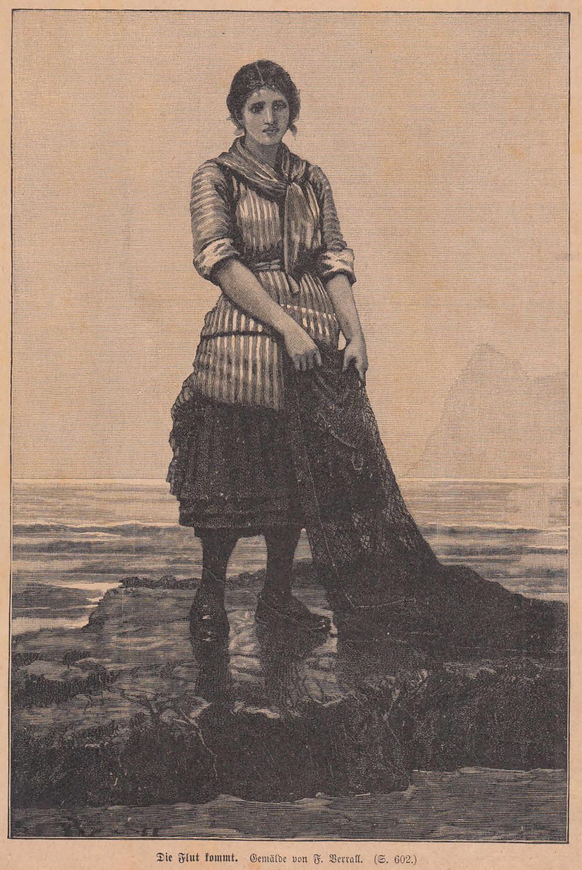 Verrall, F.: Die Flut kommt. Fischermädchen mit: Künstlergraphik,