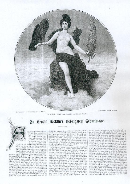 """Artikel """"Zu Arnold Böcklin`s siebzigstem Geburtstag"""" mit: Böcklin, Arnold,"""