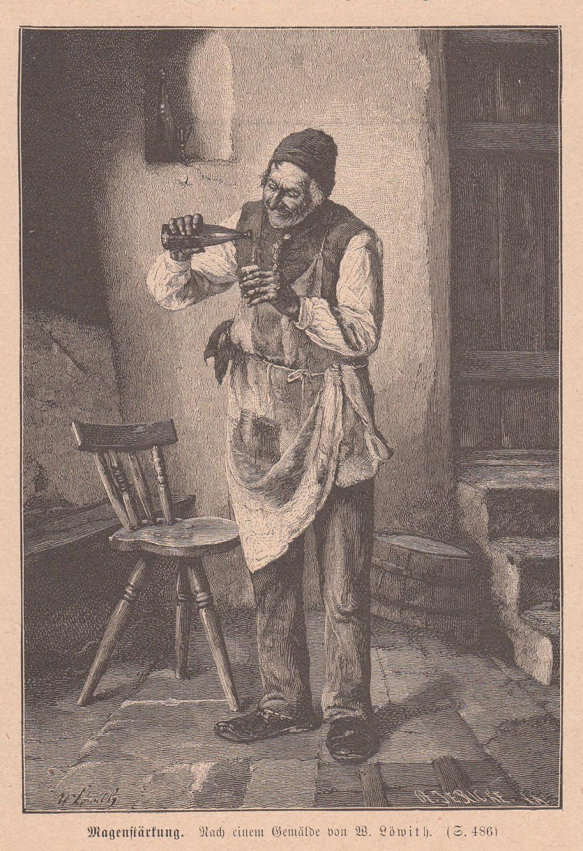 Löwith, W.: Magenstärkung. Alter Mann gießt sich: Künstlergraphik,