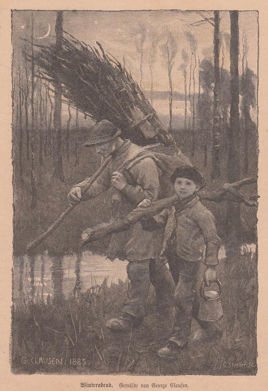 Clausen, George: Winterabend. Vater und Sohn mit: Künstlergraphik,