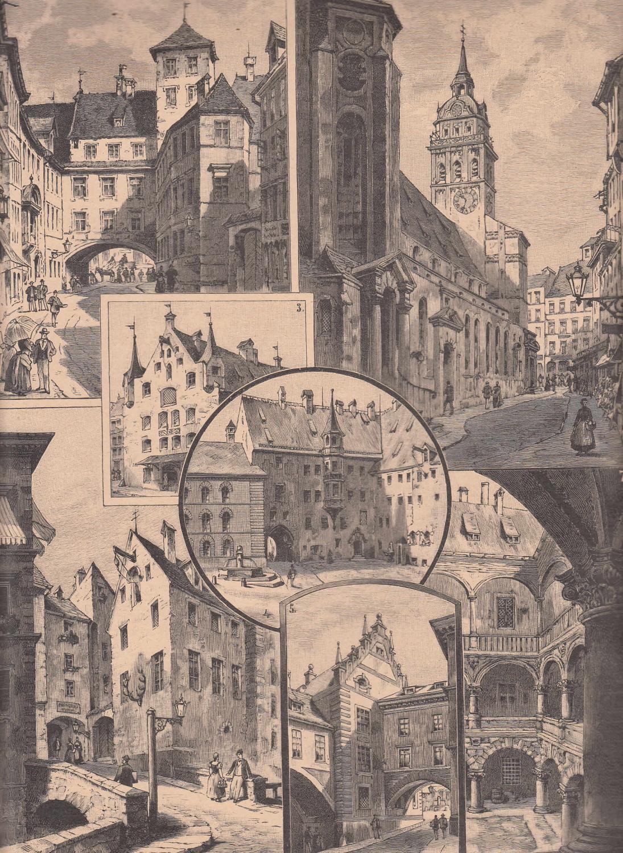 Neue Skizzen Aus Alt München 7 Ansichten Auf Einem Blatt Zeigt 1