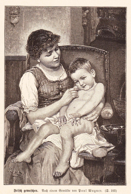 Wagner, Paul: Frisch gewaschen. Nackter Junge auf: Künstlergraphik,