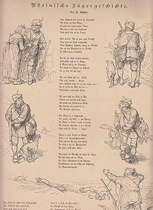 Rheinische Jägergeschichte. Gedicht in rheinischer Mundart umrahmt: Jagd,