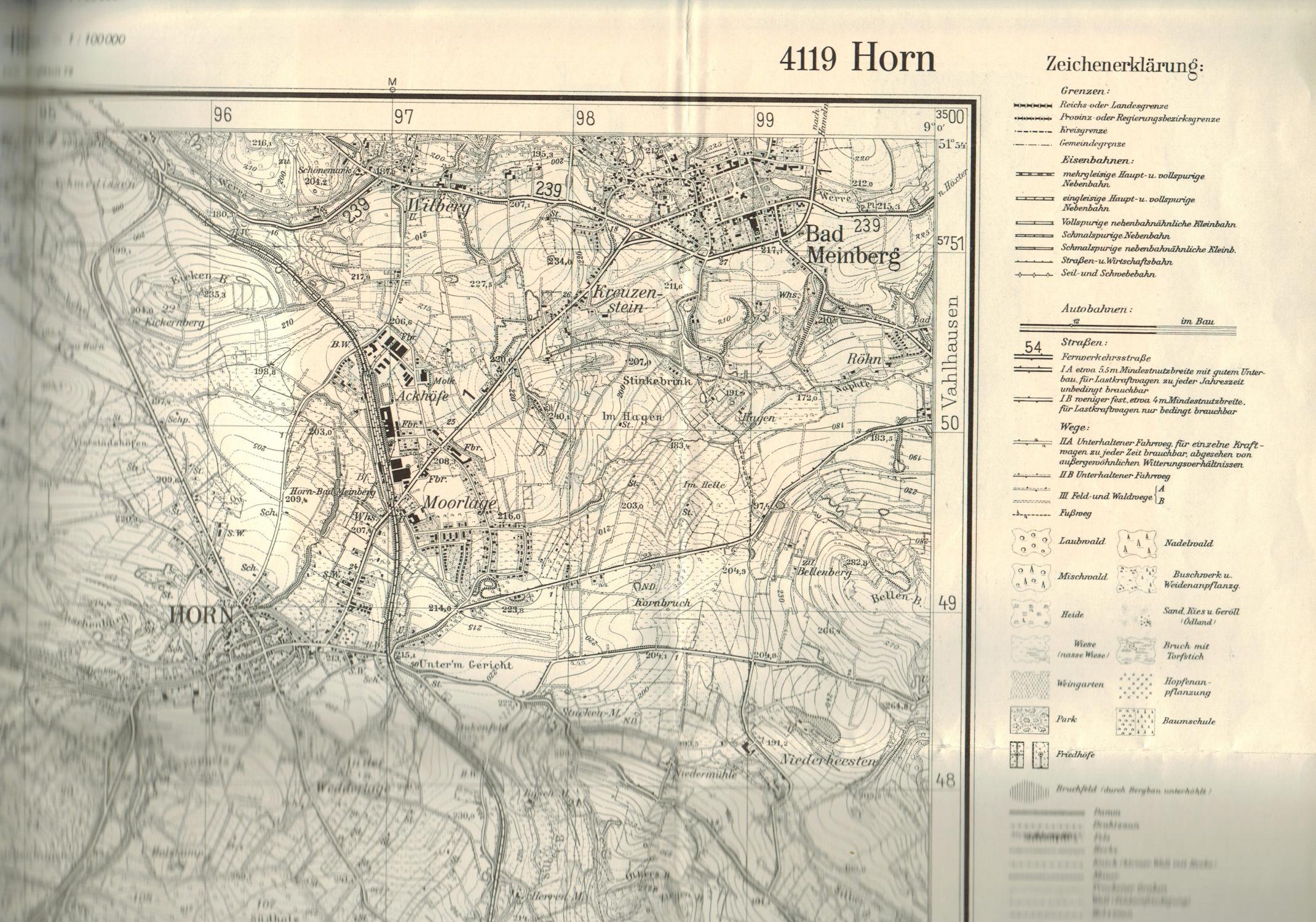 Topographische Karte Nrw.Blatt 4119 Horn Ausgabe 1957 Topographische