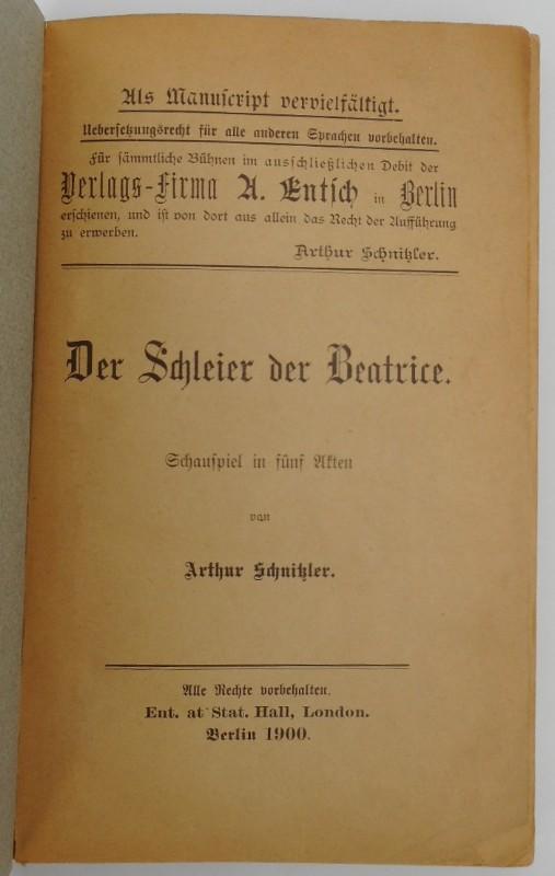 Der Schleier der Beatrice. Schauspiel in fünf: Arthur Schnitzler