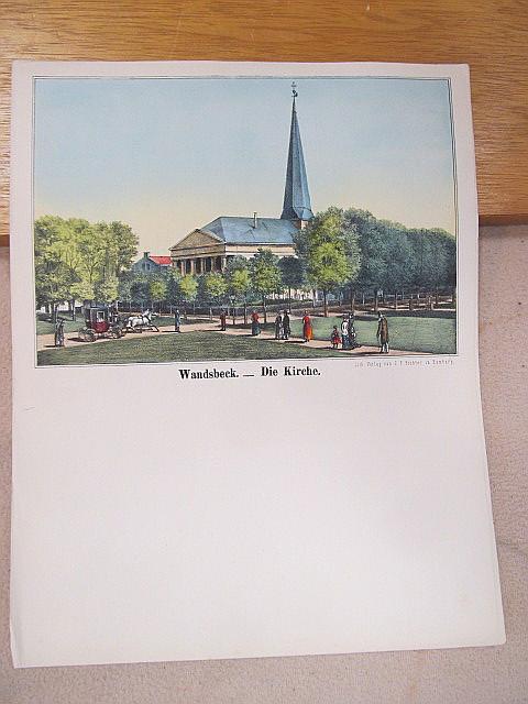 Wandsbeck. - Die Kirche. Kolorierte Lithographie auf einem ...